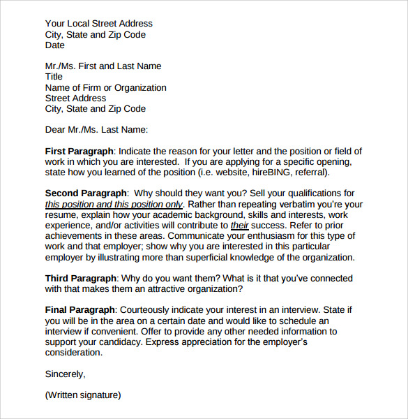 Employment Cover Letter Template Free Samples Examples
