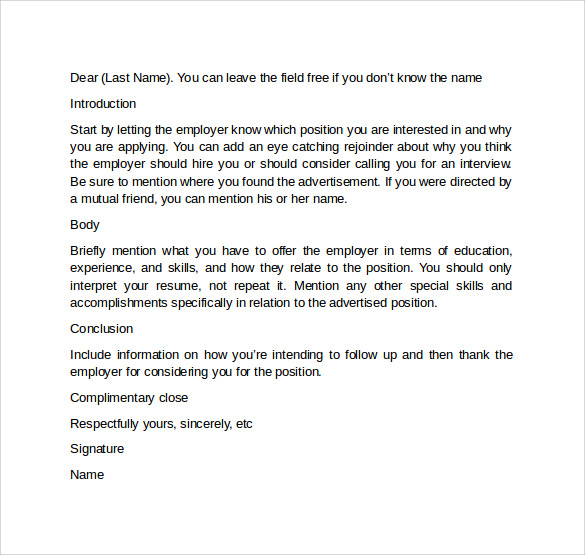 Job Cover Letter Format  Cover Letter Format Free