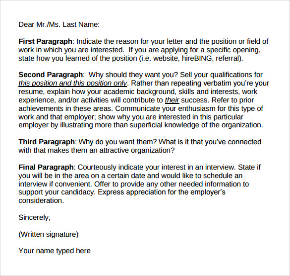 free download cover letter format