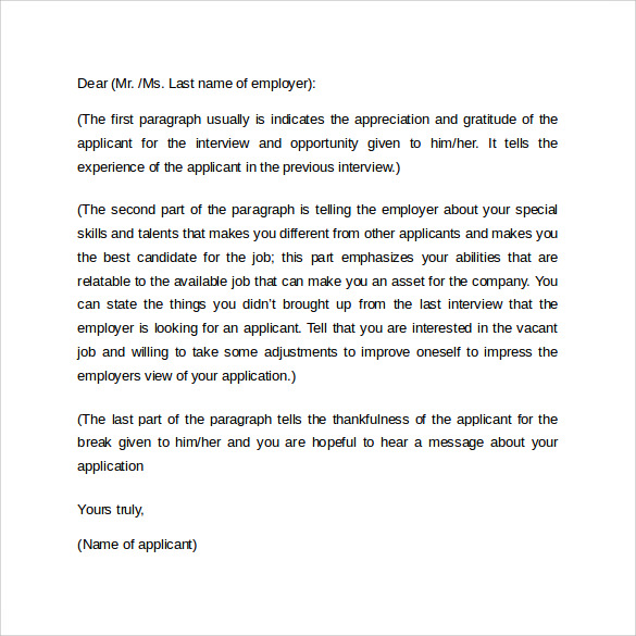 Sample Cover Letter Format Example   Download Free Documents