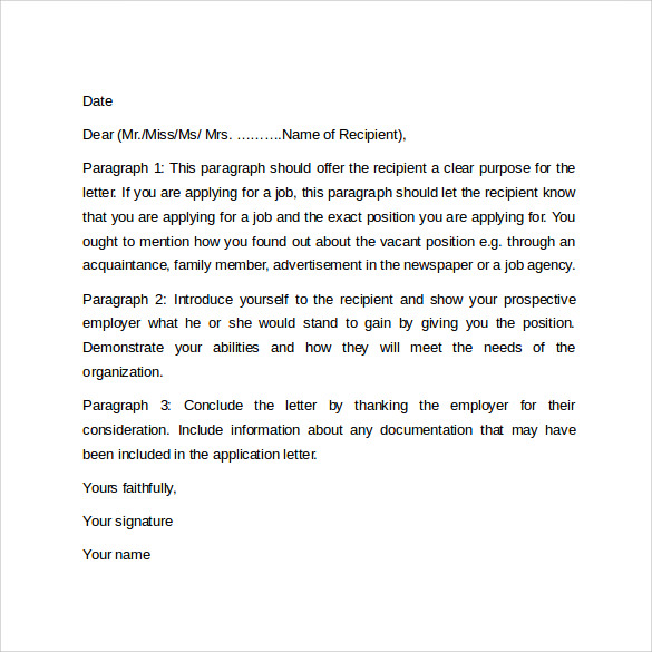 sample cover letter format example 11 download free