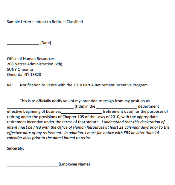 Sample of retirement letters from employers retirement for Retirement letter from employer to employee template