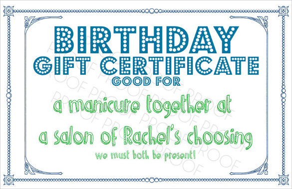 Sample Birthday Gift Certificate Templates  Sample Example Format