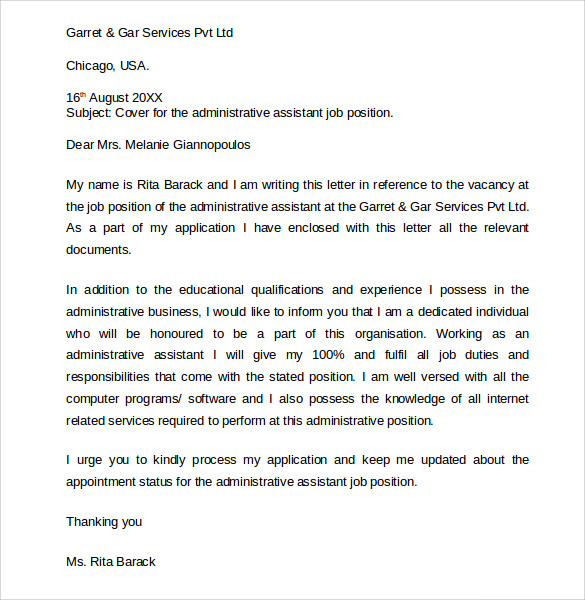Sample Administrative Assistant Cover Letter  Executive Assistant Cover Letter