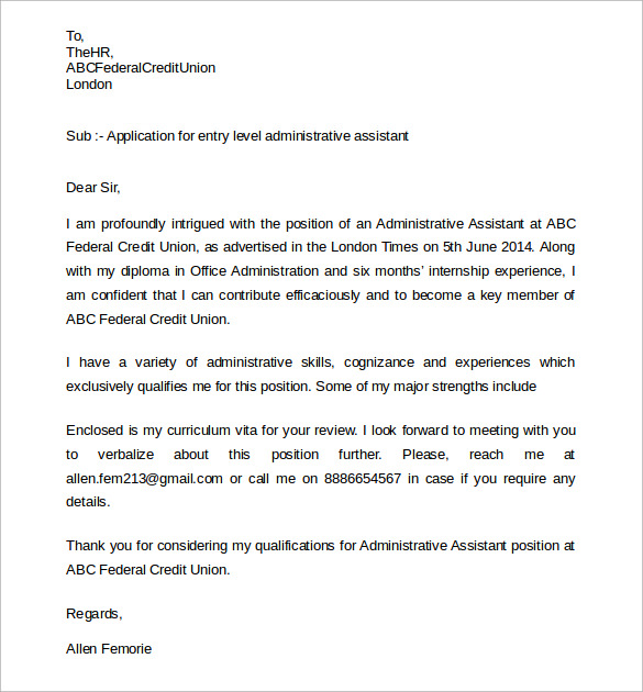 Sample Administrative Assistant Cover Letter  Download Free