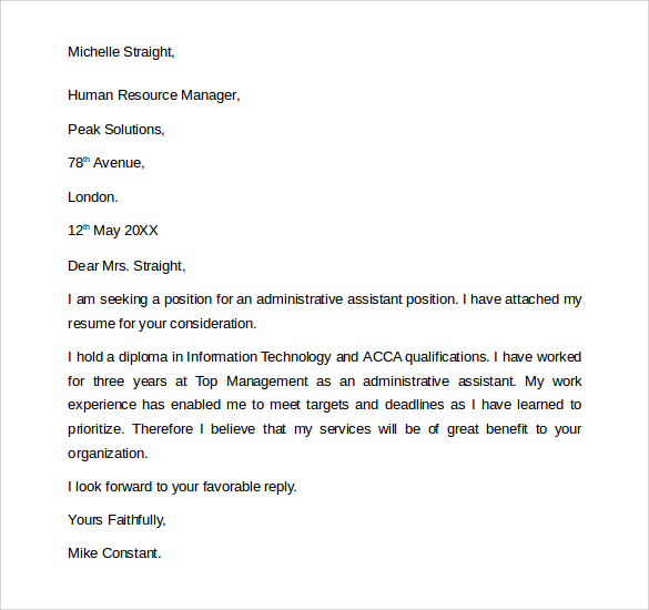 General Manager Assistant Cover Letter