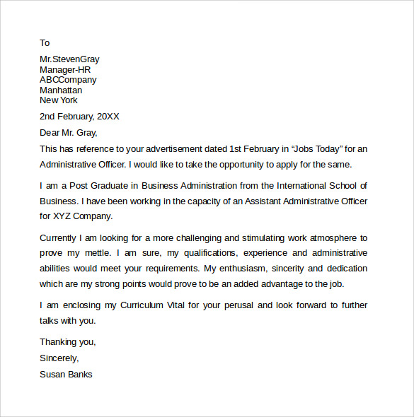 standard administrative assistant cover letter