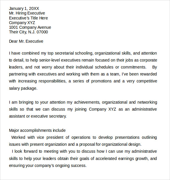 download administrative assistant cover letter