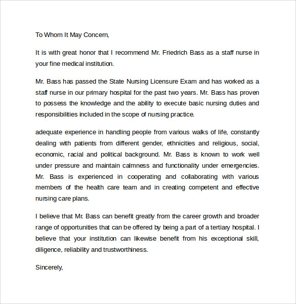Letter Of Recommendation Nurse Manager