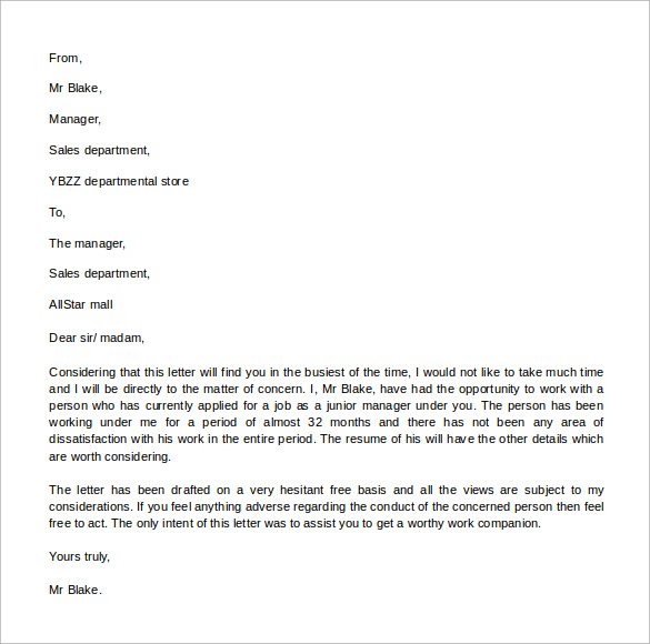 Sample Reference Letter Format    Download Free Documents In