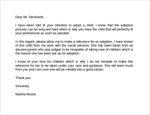 letter of recommendation for adoption template - 14 best reference letter format examples to download