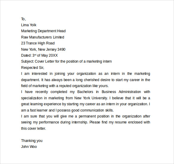 Cover Letter Internship | Sample Internship Cover Letter Example 12 Download Free