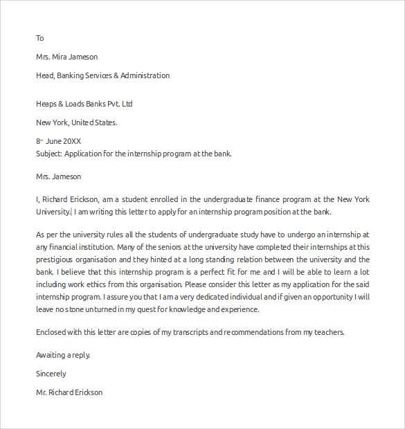 Sample Internship Letter To Bank