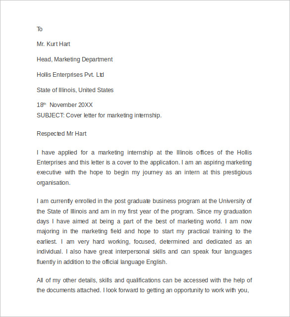 Sample Internship Cover Letter Example    Download Free
