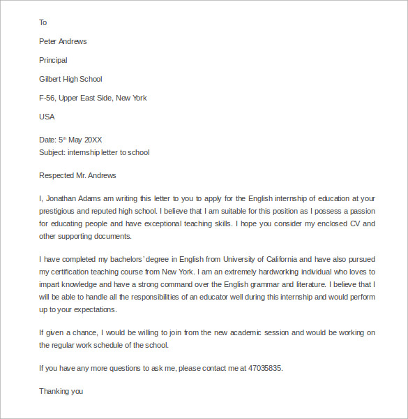 sample internship letter to school