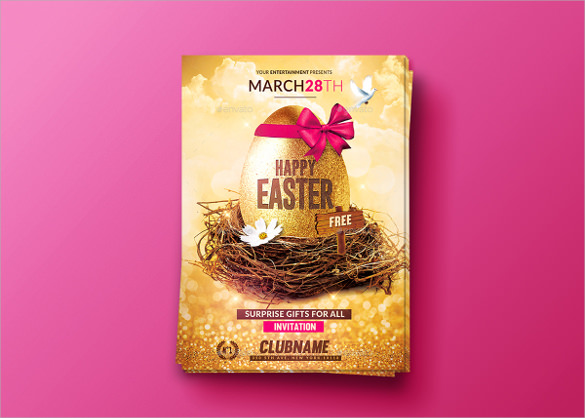 pink background easter flyer