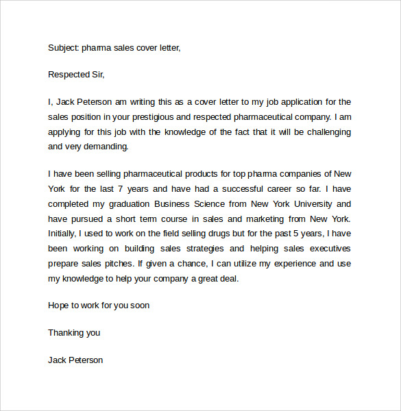 Cover Letter For Pharmaceutical Sales Job