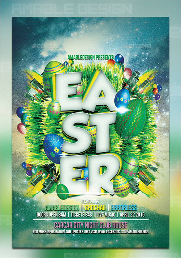 photoshop psd easter flyer