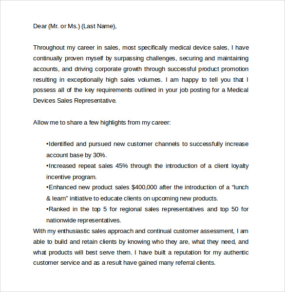 medical sales representative cover letter - Cover Letter For Medical Sales Representative