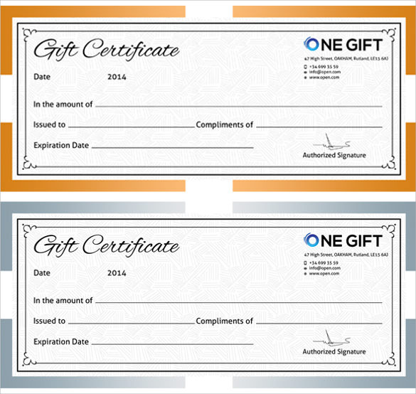 Sample Blank Gift Certificate Templates  Sample Example Format