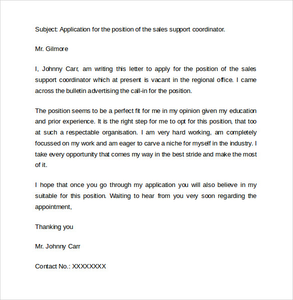 Cover Letter For Job Application For Marketing Manager