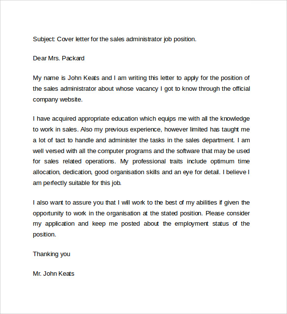 Cover Letter Example Sales Associate  Cover Letter Sales Associate