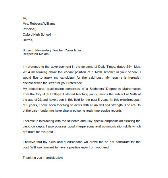 sample elementary teacher cover letter - Teachers Cover Letter Example