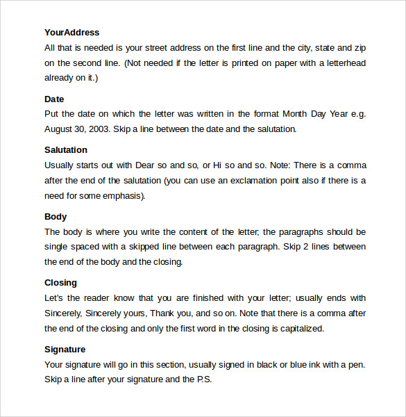 Sample Friendly letter format 8 Free Documents In PDF Word – Friendly Letter Format Template