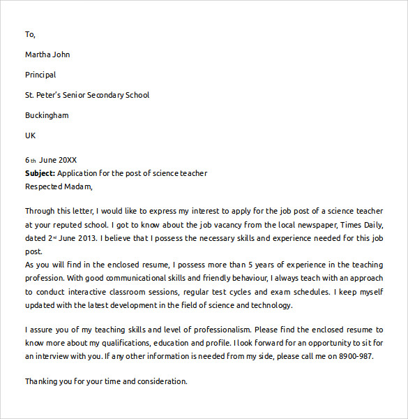 sample teacher cover letter
