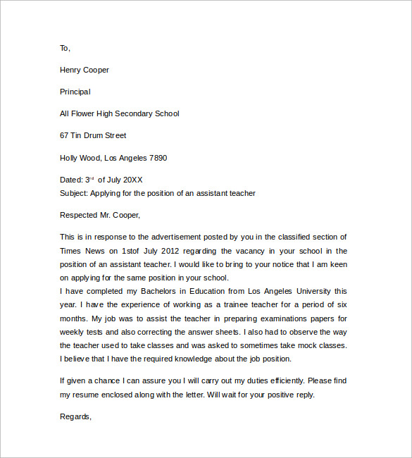 Free Teacher's Assistant Cover Letter Sample