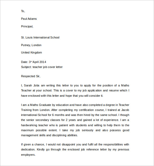 sample teacher job cover letter1