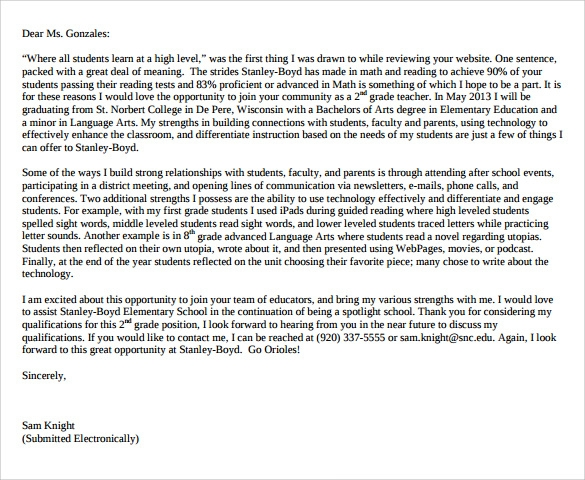 education cover letter example 9 download free