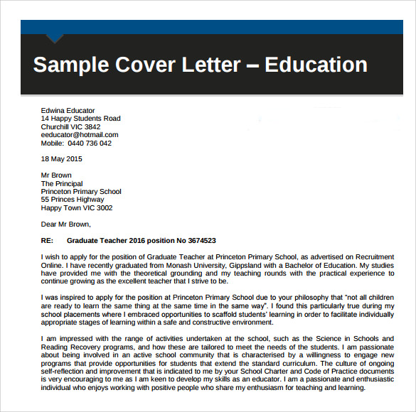 Cover Letter Samples For Educators