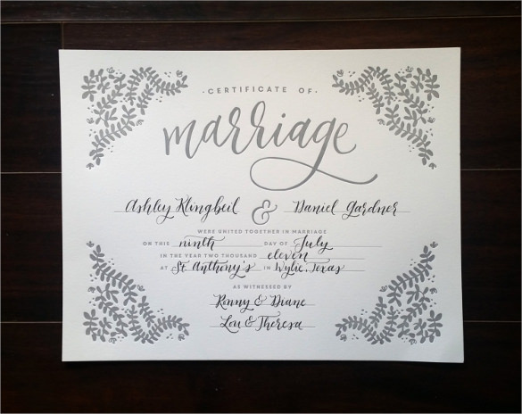 blank marriage gift certificate template