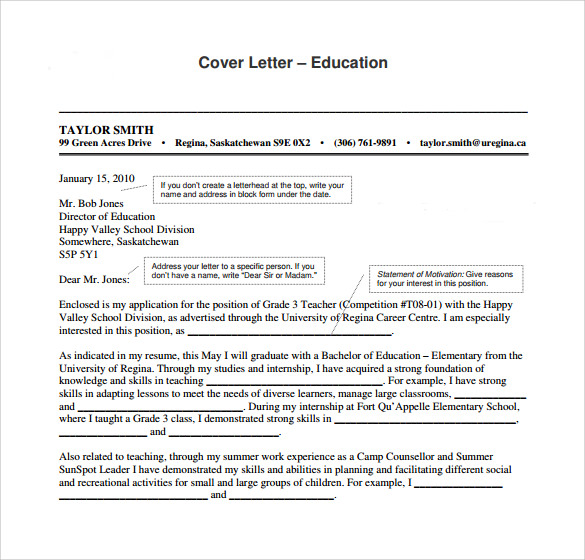 Education Cover Letter Interesting Ideas Teaching Cover Letter