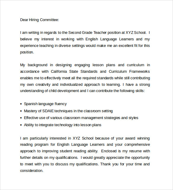 Sample Education Cover Letter Example    Download Free