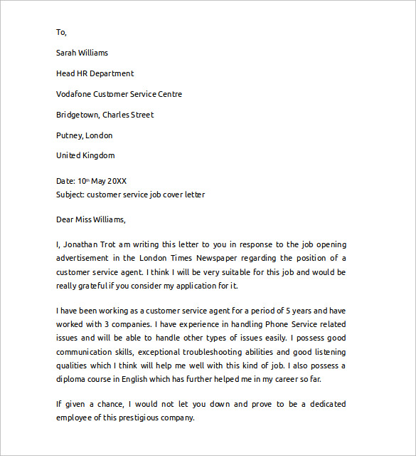 Sample Cover Letter Example for Job - 13 + Download Free Documents ... Sample Customer Service Job Cover Letter
