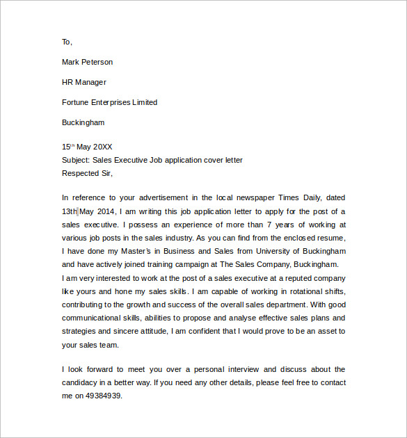 Sample Cover Letter Example For Job - 13 + Download Free Documents