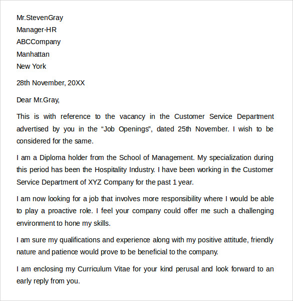 Sample Customer Service Cover Letter Example   Download Free