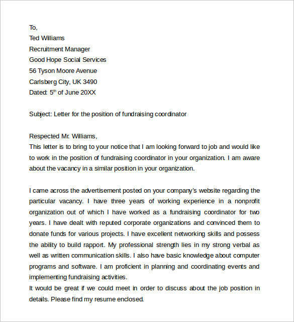 sample cover letter for fundraising coordinator