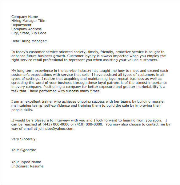 Captivating General Customer Service Cover Letter