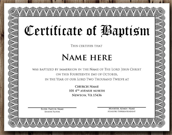 14 baptism certificate templates samples examples format sample templates for Catholic baptism certificate template