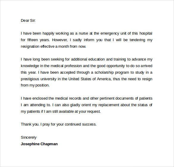 Sample Resignation Letter Format 14 Download Free Documents in – Letters of Resignation Nursing