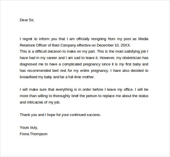 Resignation Letter While On Maternity Leave