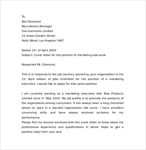 cover letter for marketing and communications position