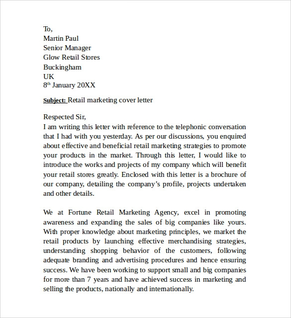 Sample Marketing Cover Letter Example - 11 + Download Free