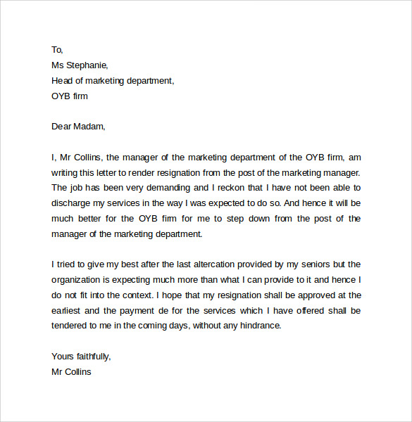 15 Resignation Letter Format Example To Download Sample