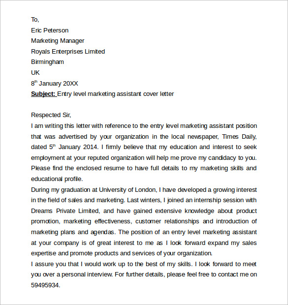 Entry Level Marketing Cover Letter