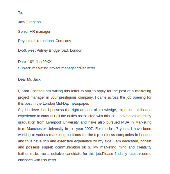 marketing cover letter example 11 download free