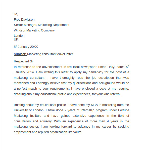 Marketing Agent Cover Letter